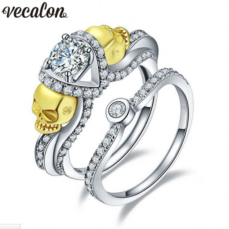 Vecalon Women Gold Skull Jewelry 2ct AAAAA Zircon Cz 925 Sterling silver Wedding Band Ring Set for Women Female Finger ring(China (Mainland))