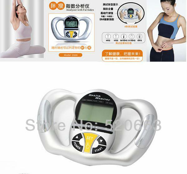 Tester fat analyser Digital Body Fat Analyzer Meter Health Monitor BMI Mass Index Handheld Calorie Hand Fat Meter Free Shipping(China (Mainland))