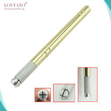 Golden Tebori Pen Microblading pen tattoo machine for permanent makeup eyebrow tattoo manual pen 2pcs needle blade microblading(China (Mainland))