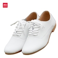WeiDeng Woman Genuine Leather Preppy Style Lace Up Casual Pointed Flat Non Slip Office Lady OL