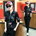tracksuit for women 2016 autumn women s flower Printed jacket pants Retro suits female large size