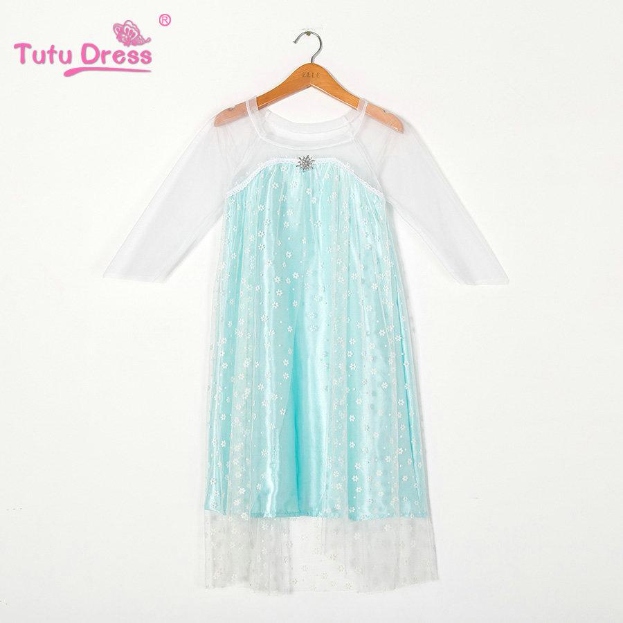Cheap Discount New Elsa Girl Dress Blue Green Color Elsa Dress Summer Cheap Dress(China (Mainland))