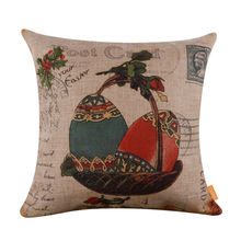 LINKWELL 45*45cm Retro Shabby Chic Colorful Easter Egg Burlap Cushion Cover with Gift Basket Present
