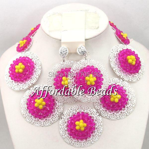 Flower Women Costume Jewelry Set Unique Wedding African Beads Jewelry Set Free Shipping BN141(China (Mainland))