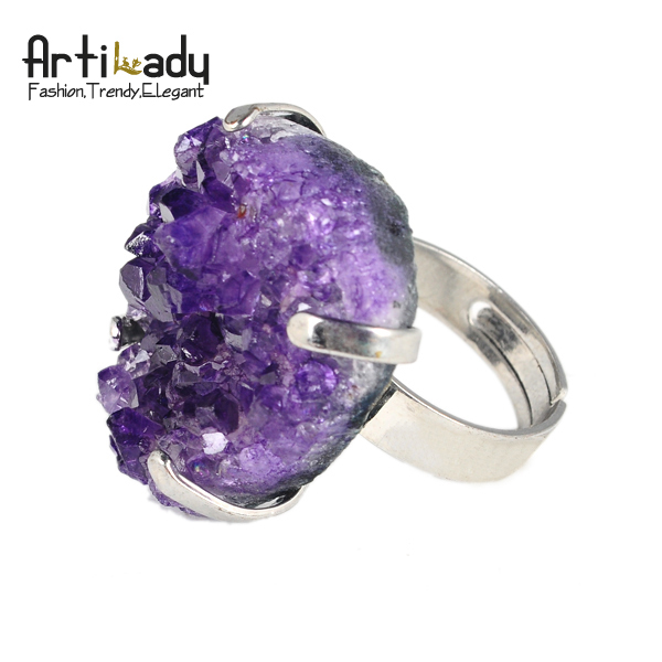 Artilady amethyst drusy ring fashion purple druzy women jewelry adjustable ring christmas gift
