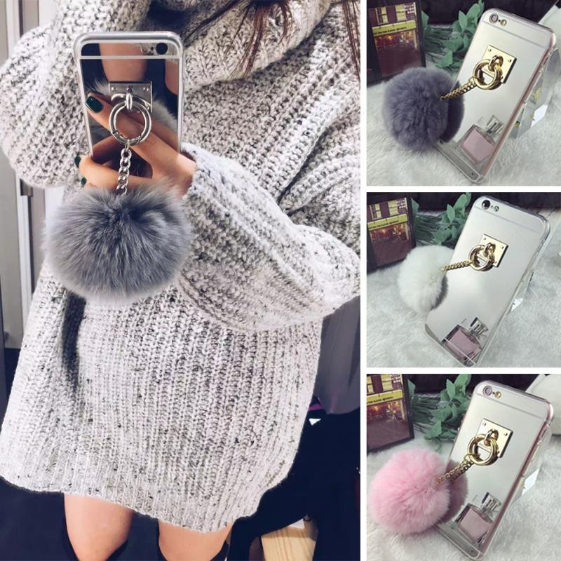 2016 Silver Luxury Metal Rope Mirror TPU Tassel Case Phone Capa Rabbit Fur Ball For iPhone 6/6S 6 Plus Back Cover Case(China (Mainland))