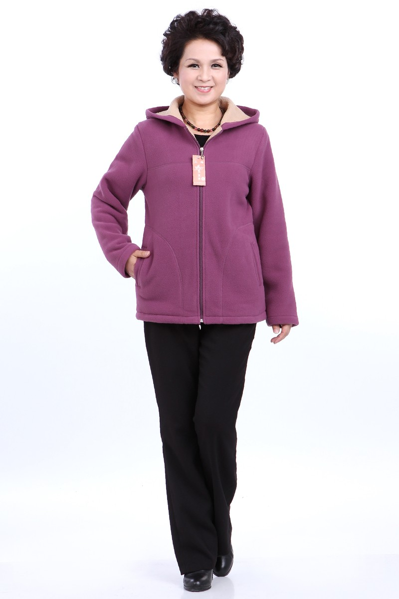 Winter Middle Aged Womens Hooded Imitation Lambs Fleece Jackets Ladies Warm Soft Velevt Coats Mother Overcoats Plus Size (33)