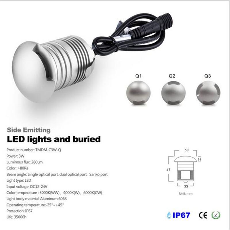 10pcs new design ip67 waterproof 12v 3W mini LED floor light polarized light step light 3W stairs light solar use CE and ROHS(China (Mainland))