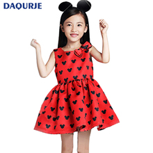 Buy New girls clothes 2017 summer dress elsa Cute minnie sleeveless red girl dress bow kids clothes children clothing 2-7T costume for $6.08 in AliExpress store