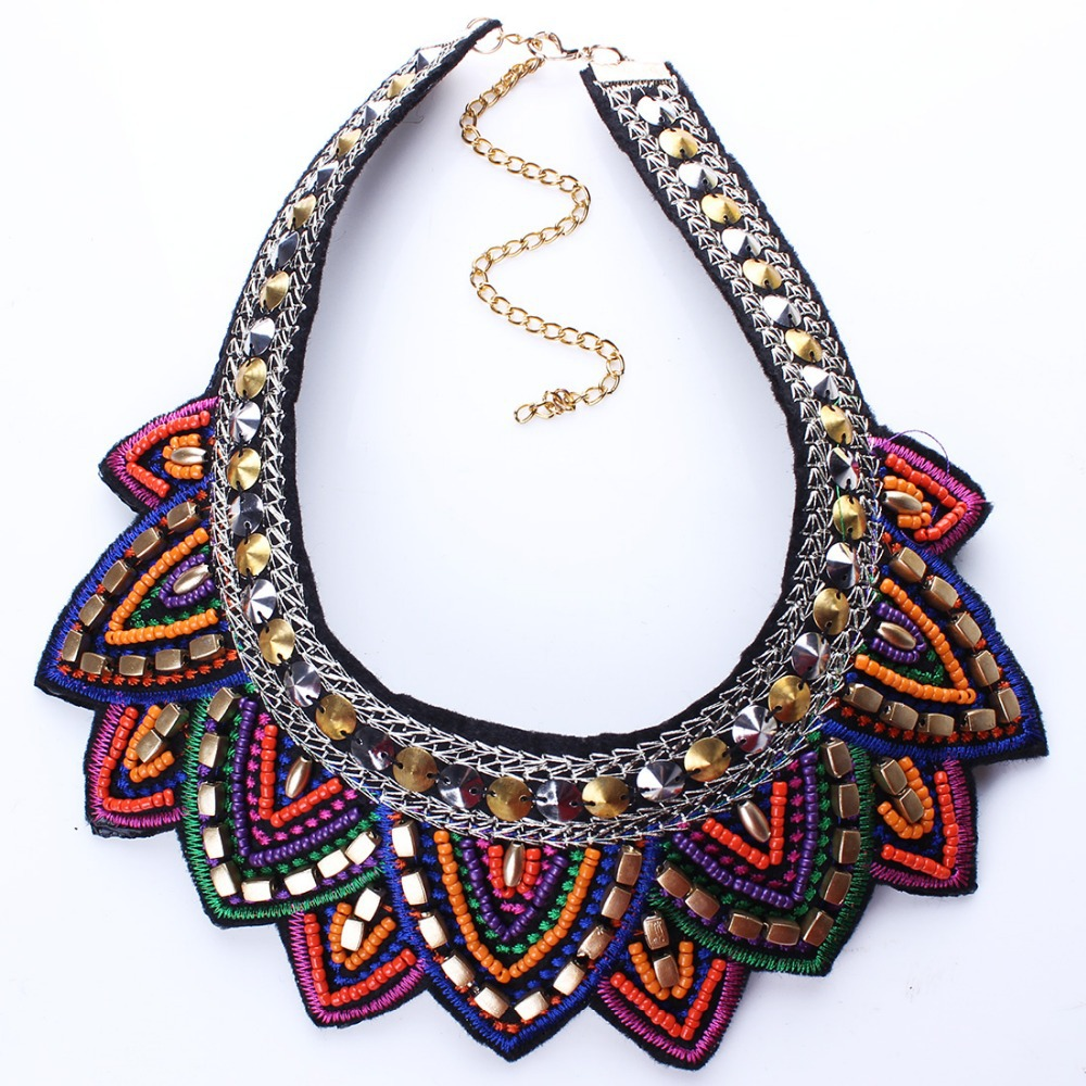 Multicolor Resin Beads Lotus Flower Statement Choker Collar Necklaces Fashion Punk Jewelry N2519