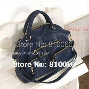 New women messenger bag bolsas genuine leather women's handbag work office tote bag high quality purse black blue(China (Mainland))