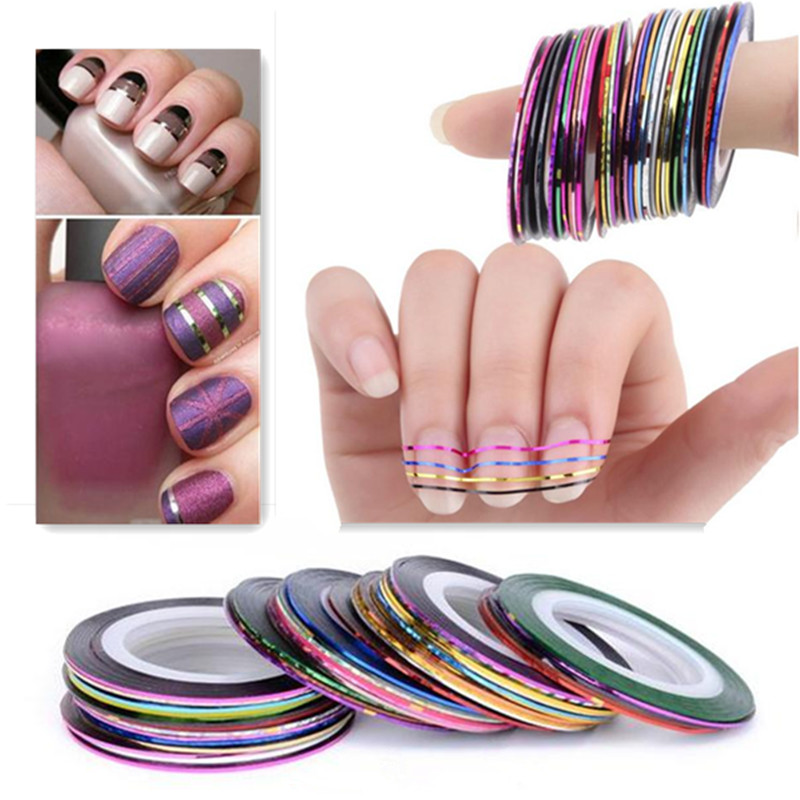 Hot Sale 20Pcs Mixed Colors Sticker Nail Art DIY Tips Decoration Stickers Rolls Striping Tape Line Manicure Tools(China (Mainland))