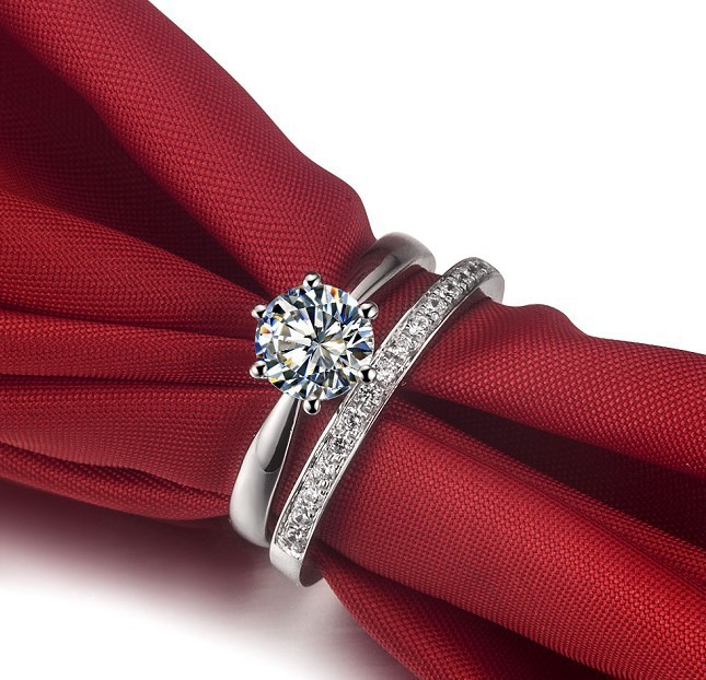 Exaggerated Credible Quality 2carat Ring With Excellent Band NSCD Synthetic Diamond Ring amazed Bridal Engagement Jewelry(China (Mainland))