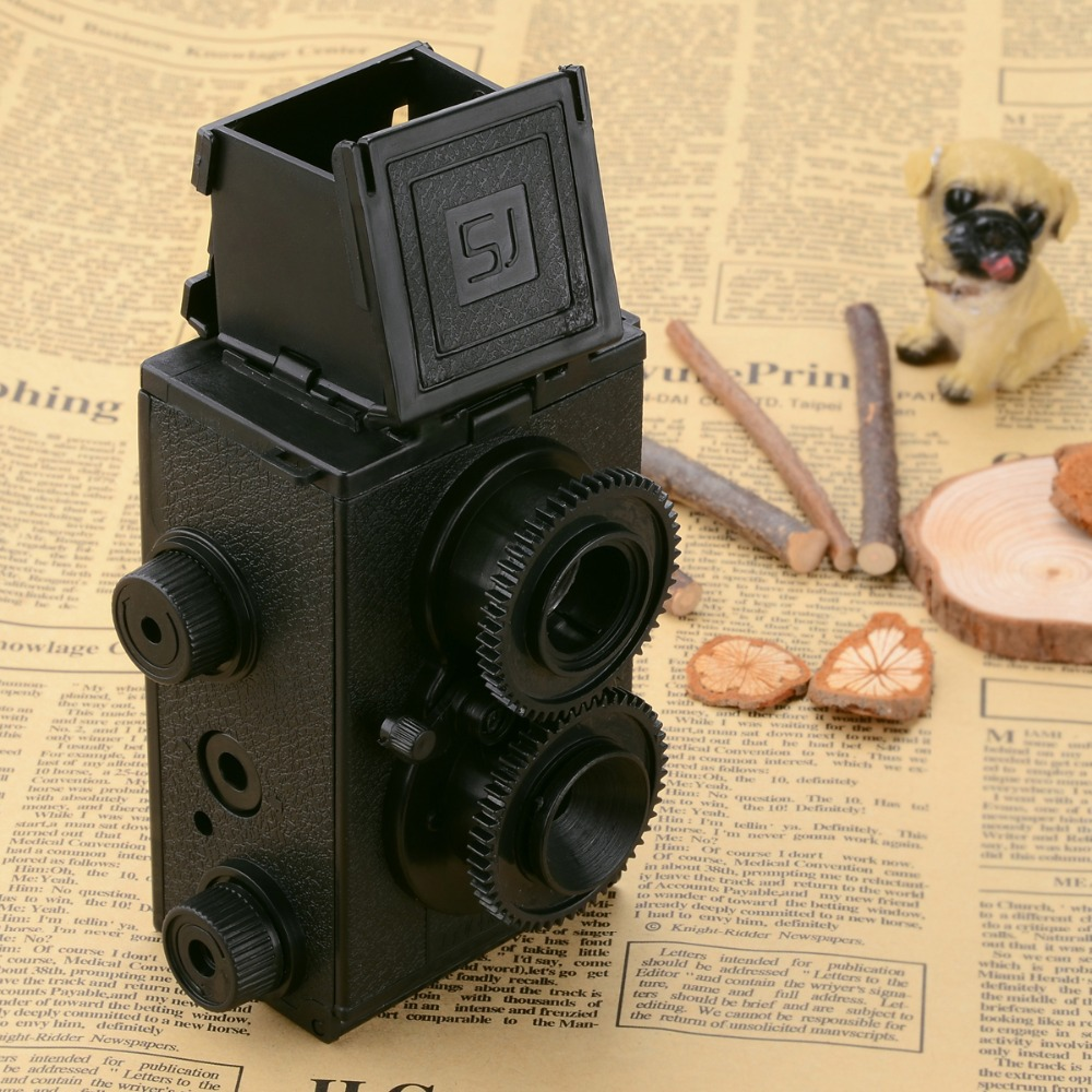 LOMO-001 Smart Toys DIY Assemble Plastic Twin Lens Reflex Camera - Black(China (Mainland))