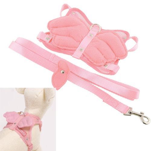 Free Shipping Cute pink angel pet harness belt adjustable shoulder straps pet traction nylon easy dog biting(China (Mainland))