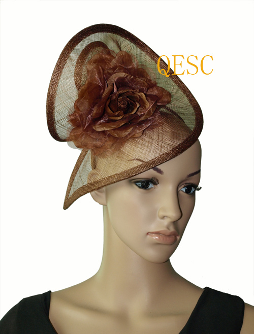 Brown Sinamay headband fascinator with silk flower for kentucky derby,races,wedding,church(China (Mainland))