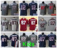 Signature Best quality 100% Stitiched,New England Patriots,12# Tom Brady, #87 Rob Gronkowski #11 Julian_Edelman,blue white kids(China (Mainland))