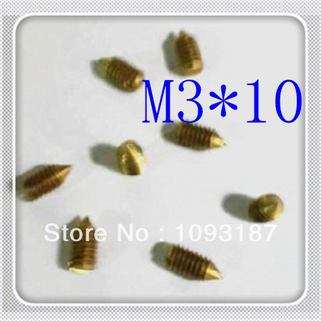 1000pcs/lot High Quality M3*10 Brass Slotted Set Screw With Cone Point<br><br>Aliexpress