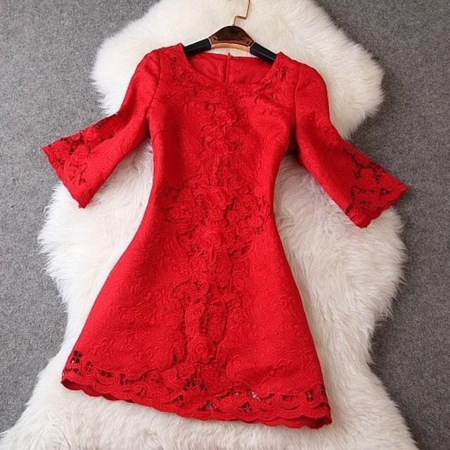 Вышивка весна платье 2016 новых высокое качество мода женская одежда Большой размер XXL свободного покроя зима платье мини ну вечеринку платья красный