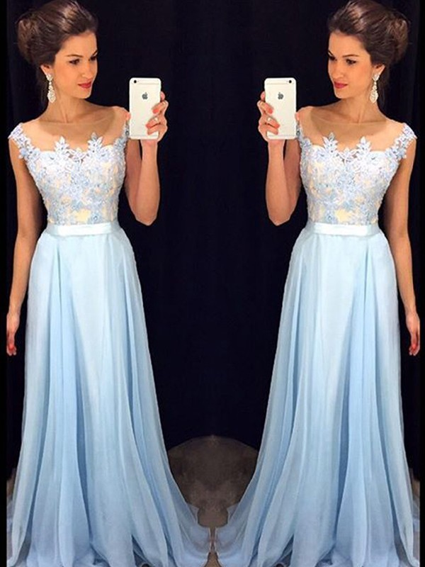 2016 Cap Sleeves Appliques Lace Light Blue Prom Dresses Gown Formal Evening Dress Graduation Party Dress Long(China (Mainland))