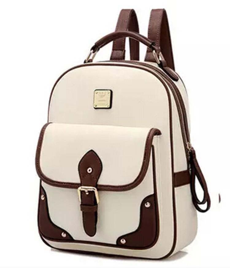 New 2015 High Quality Designer Brand Patchwork Women Backpacks Mochila Women's PU Leather Backpack Travel bag School Backpack(China (Mainland))