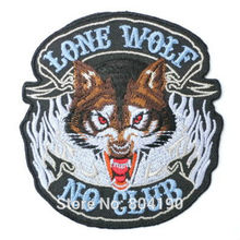 LONE WOLF NO CLUB Hog Rockers Racer Chopper Outlaw MC Motorcycle Biker Vest Patch Embroidered SEW ON IRON ON Biker Vest Badge(China (Mainland))