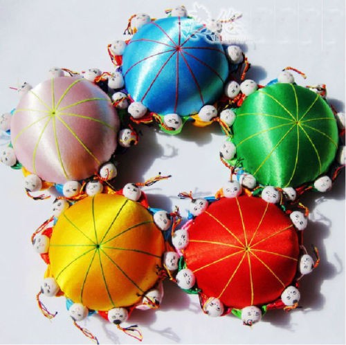 wholesale 5PCS Chinese HANDMADE Silk Sewing Tool vintage pin Cushion with10 cute kids(China (Mainland))