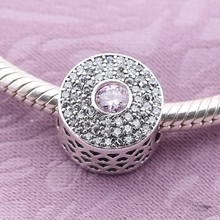2016 Authentic 925 Sterling Silver Charms With Pink Crystal CZ Fit Pandora Series Bracelets For Women European Bead Fine Jewelry(China (Mainland))