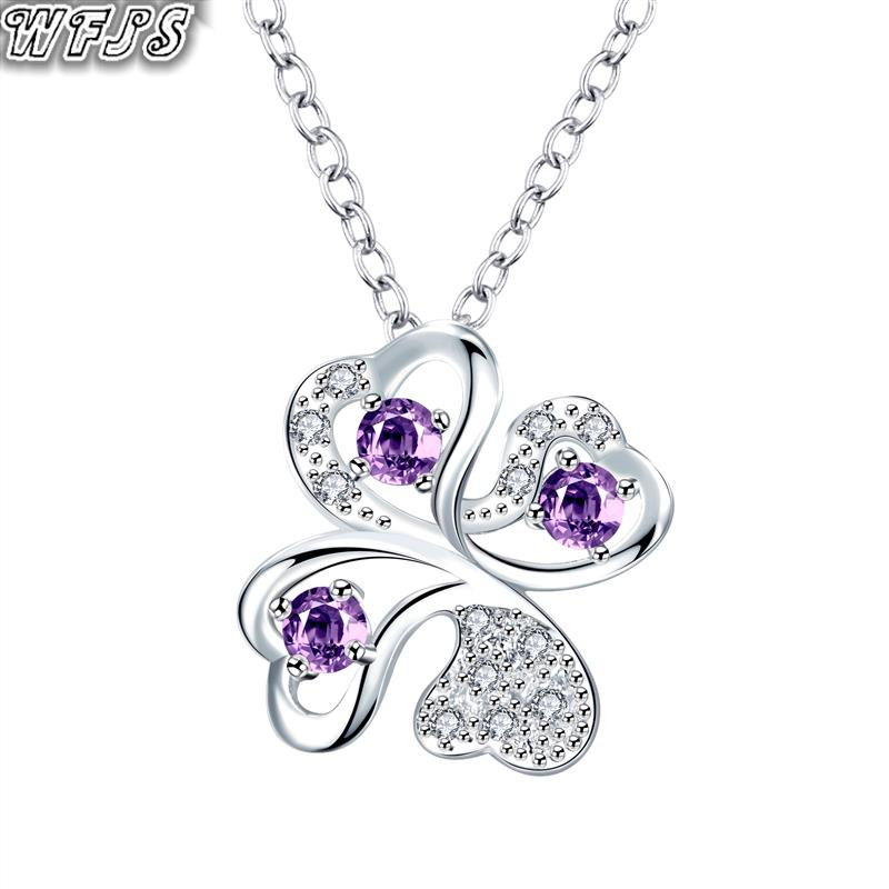 New Design Three Main Purple Stone heart shaped crystal Necklace 925 sterling Silver Necklace jewelry  N087-B(China (Mainland))