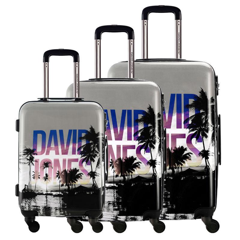 "DAVIDJONES Lightweight and Waterproof 3 Piece Spinner Luggage Set,Vintage Print, 20"" 24"" 28""(China (Mainland))"