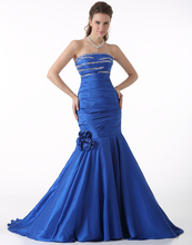 Fast Shipping 2016 Taffeta Royal Blue Evening Dresses Mermaid Ladies Flower Evening Gowns Beaded Western Party Gowns For Sale(China (Mainland))