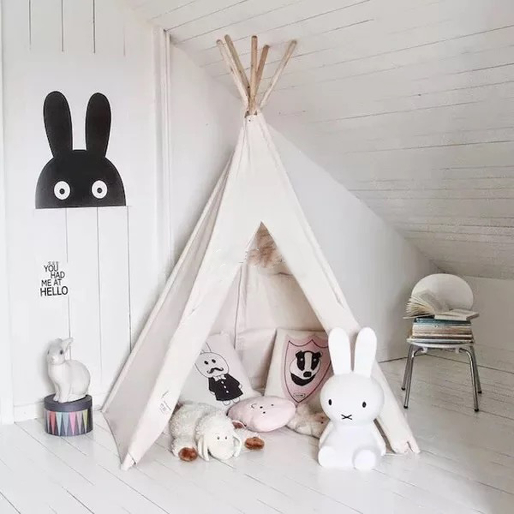 Pure White Kids Play Tent Indian Teepee Children Playhouse
