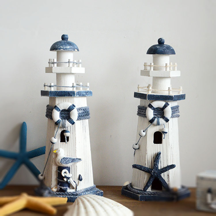 Mediterranean Style Retro Look Shabby Chic Wodden Lighthouse Beacon Model Navigation Light House Model(China (Mainland))