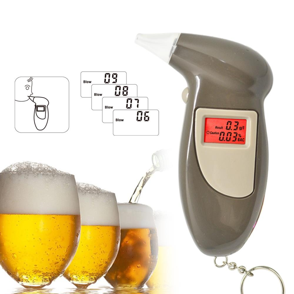 FREE SHIPPING GREENWON Prefessional Police Digital LCD Alcohol Breath Analyzer Breathalyzer Tester Keychain Audible Alert(China (Mainland))