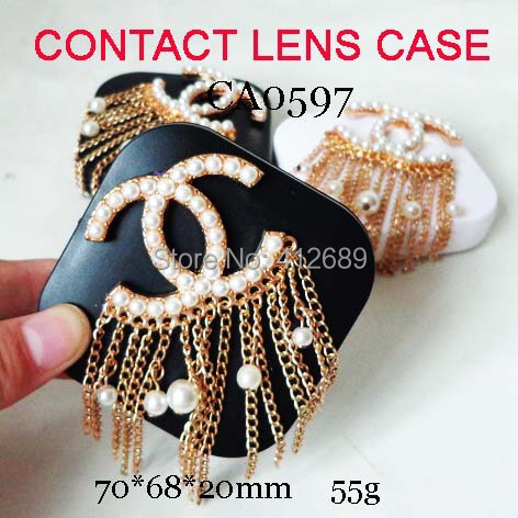 free shipping CA0597 big double-C tessue pearl DECO contact lens case10PCS/LOT(China (Mainland))