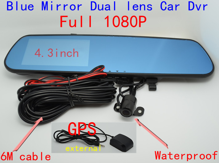 Full HD1080P GPS Logger Car Dvr Rearview Mirror waterproof Parking Back Up DVR PIP H.264 Dual Lens Blue Mirror Car DVR H238(China (Mainland))