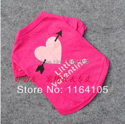 Free shipping An arrow through the heart dog clothes pet product %100 cotton rose red pet dog clothes T-shirt dog clothing vest(China (Mainland))