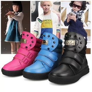 2014 new winter childrens cotton padded shoes causal shoes Rivets boys girls PU leather shoes snow boots ankle boots 867<br><br>Aliexpress