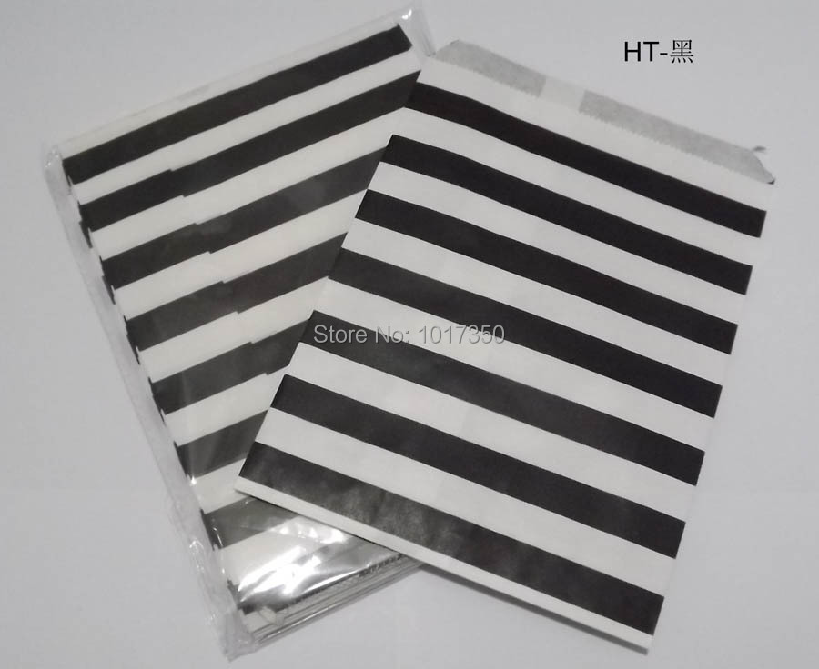 Free Shipping black horizontal stripe Food oil Favor Paper bag,Party Gift Bag Paper Treat Bags Craft Bags Weddng supplies(China (Mainland))