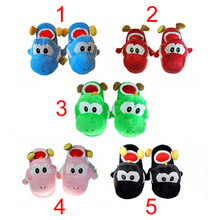 "Super Mario Brothers 5Colours Yoshi Slippers Plush 11"" int yoshi (black pink red blue green) slipper indoor shoes(China (Mainland))"