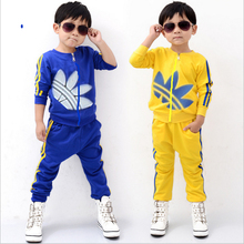 2015 brand of high quality  retail! Kids baby boy Active clothes suit 100% cotton brand Sports long-sleeved jacket + pants suit(China (Mainland))