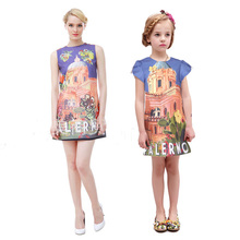 2016 Summer Brand Mother Daughter Dresses Women Dresses for Girls Princess Castle Flower Print Mom and Daughter Matching Clothes