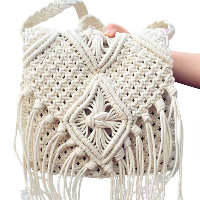 Crochet Shoulder Bag : Messenger Bags Tassels Cross Bag Beach Bohemian Tassel Shoulder Bag ...