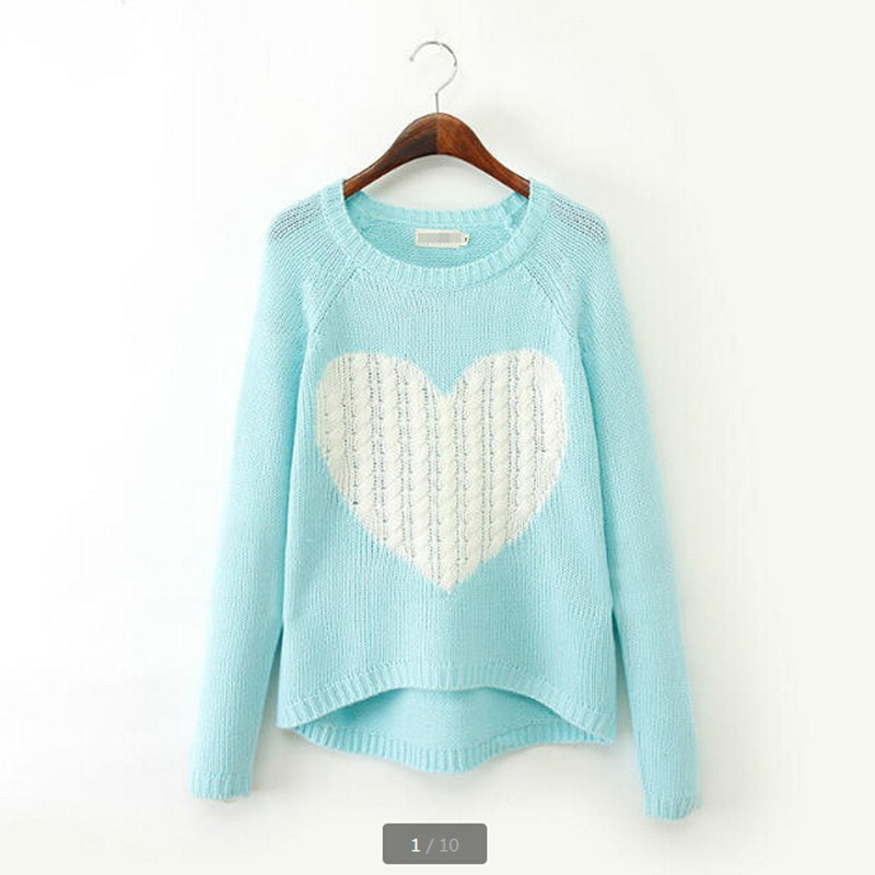 2015 Wool Blend Brand Elegant Heart Pattern Pullover O-neck Long Sleeve Knitwear Stylish Knitted Women's Sweaters Tops ZL0576(China (Mainland))
