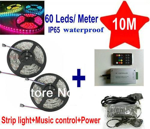 10M 5050SMD 60led/M Waterproof IP65 Flexible RGB LED Light Strip 2*5M+18key Sound Sensor Music RF remote Controller+Transformer(China (Mainland))
