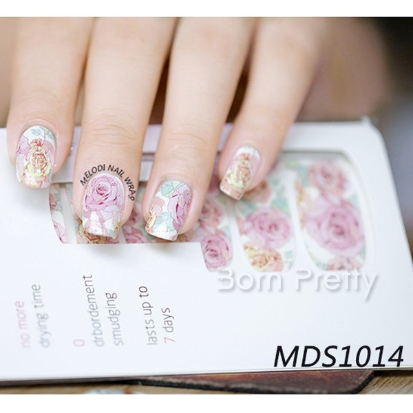 14pcs/ Sheet BORN PRETTY Floral Nail Wraps Pink Roses Nail Art Full Stickers Nail Art Decoration MDS1014 # 23252(China (Mainland))