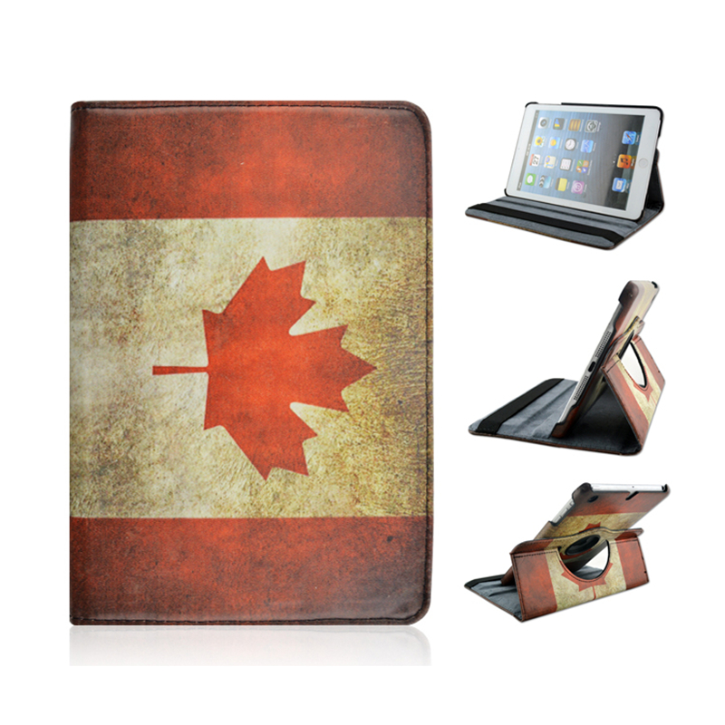 Flag of Canada Pattern 360 Rotating PU Leather Full Body Case with Stand for iPad Mini 1 2 3