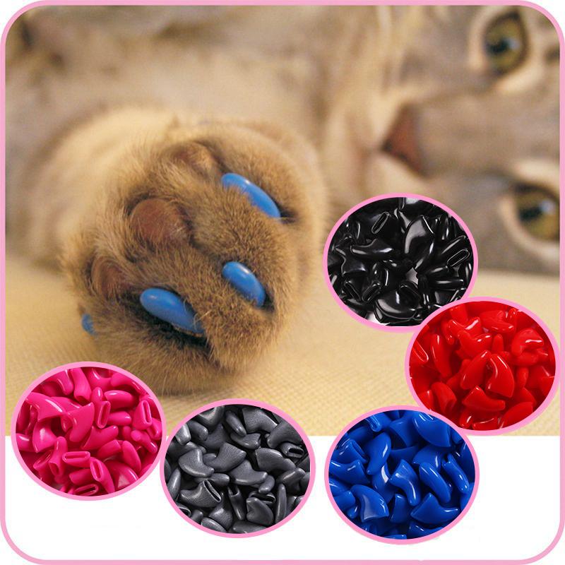 100 pcs - Cats Kitten Paws Grooming Nail Claw Cap+5 Adhesive Glue+5 Applicator Soft Rubber Pet Nail Cover/Paws Caps Pet Supplies(China (Mainland))