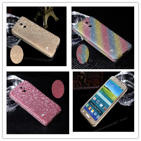 Hot! Luxury Shiny Glitter Diamond Full Body Phone Stickers Phone Case Cover for Samsung Galaxy S5 i9600(China (Mainland))