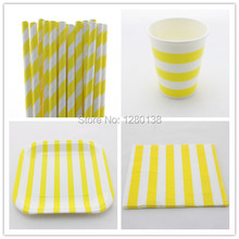 Disposable 5 Color Striped Paper Napkins, Paper Straws, Birthday Wedding Supplies Striped Paper Plates, Paper Cups(China (Mainland))